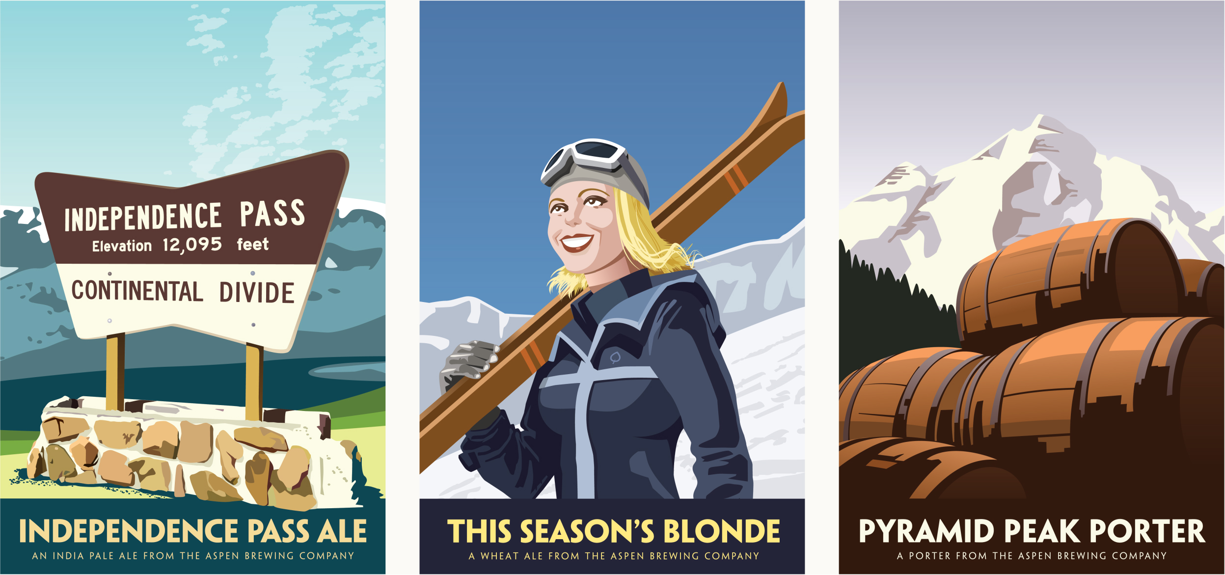 Independence Pass Ale, This Season's Blone Ale, and Pyramid Peak Porter Labels