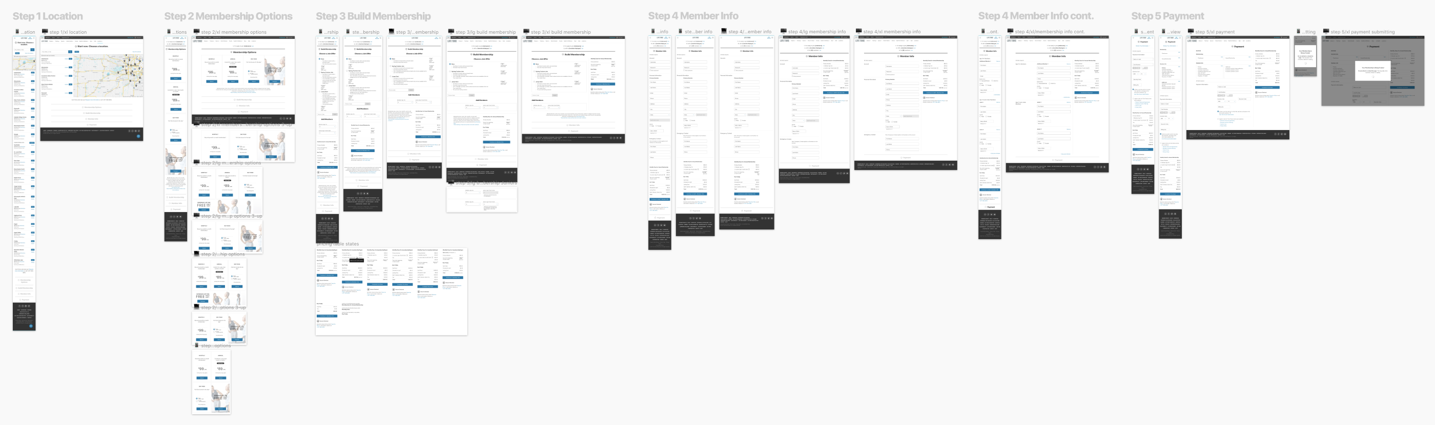 Wireframes of All Steps in the Website at Different Breakpoints